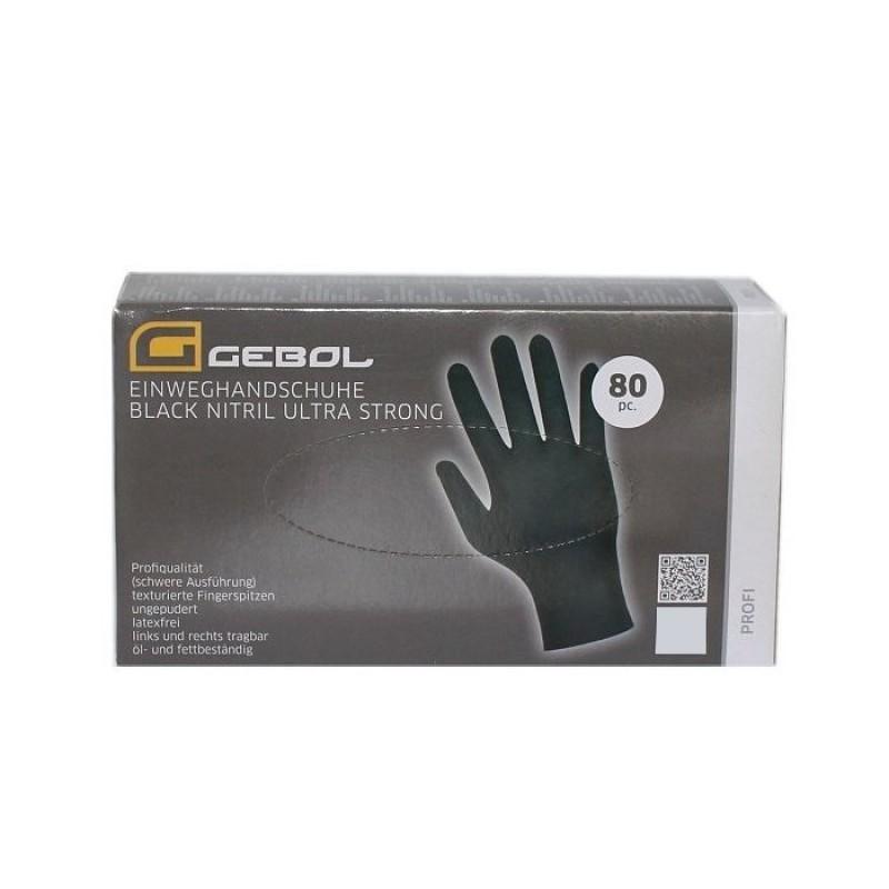 GEBOL Jednorazové nitrilové rukavice čierne 80ks  L