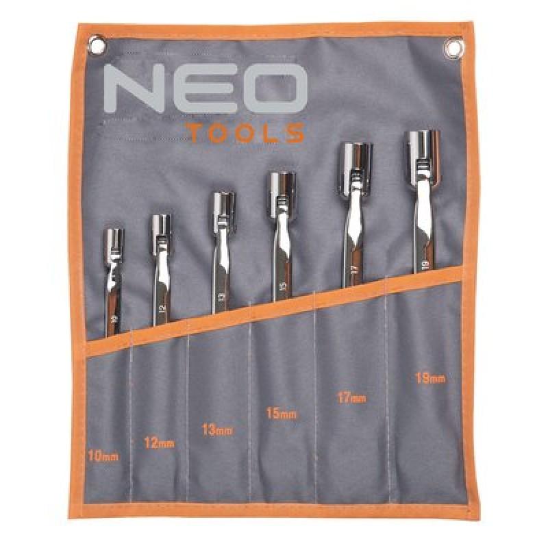 NEO 09-115 Sada otvorených kľúčov s kĺbom 10-19mm, 6ks sada