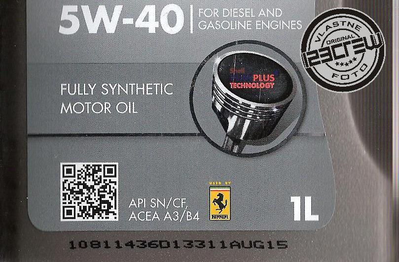 dátum výroby motorového oleja Shell Helix Ultra 5W-40