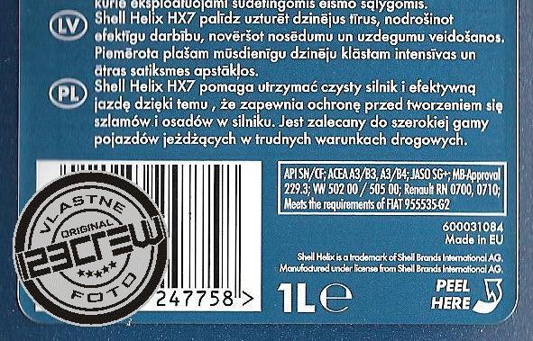 Použitie motorového oleja SHELL HELIX HX7 10W-40